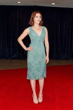 1b7561a3d Soft Summer/Hourglass Scarlett Johanssen in an Ellie Saab Aqua coloured  dress