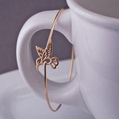 georgiedesigns - Gold Hummingbird Bangle Bracelet, Gold Hummingbird Jewelry