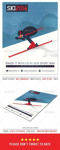 Ski Poster / Flyer Template PSD #design Download: http://graphicriver.net/item/ski-posterflyer/6894398?ref=ksioks