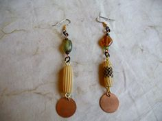 Mismatched Indian Glass Bead Bone & Raw Copper by CherokeeDancing