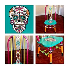 Custom hand painted Sugar Skull or Day of the Dead chair.    *Personally hand painted  *No stencils *One-of-a-kind *Solid wood chair *Non-toxic paint