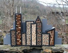 Bee City Cityscape for Mason Bees by Wudwerx on Etsy.
