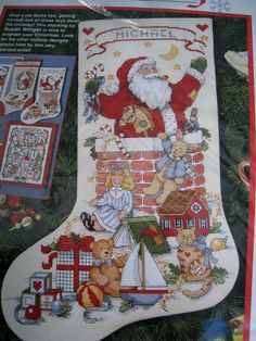 Christmas Holiday Counted Cross Stocking KIT,SANTA IN THE CHIMNEY,Winget,Size 16 #Dimensions