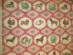 Hunting dog sheets | English fox hunting upholstery toile fabric 62 inches by monin22