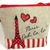 Make Up Bag in Linen with Red Eiffel Tower Applique