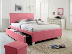 Fantasia Pink Upholstered Bed w/ Trundle Standard Furniture in Kids Beds. Clean smart design lines give Fantasia Bedroom Collection by Standard Furniture versatility, allowing them to blend with any bedroom decor. Twin Trundle Bed, Twin Headboard, Kids Bedroom Furniture, Bedroom Ideas, Design Bedroom, Girls Bedroom, Bedroom Decor, Target Furniture, Teen