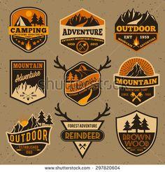 Set of summer camping outdoor adventure and mountain badge logo, emblem, label design