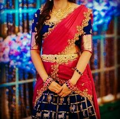 Pink and blue colour halfsaree Kids Blouse Designs, Blouse Designs Silk, Saree Blouse Patterns, Half Saree Designs, Lehenga Designs, Kurta Designs, Half Saree Lehenga, Bridal Lehenga, Lehenga Color Combinations