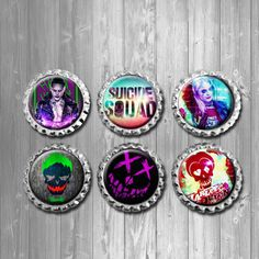Suicide Squad Movie Character, Joker, Harley Quinn  Bottle Cap Magnets - Set of 6. Refrigerator magnets, locker magnets, office, birthday party favors, wedding favors, gifts, stocking stuffers, back to school supplies, dorm, white board, teen, suicide squad move, characters, joker, harley quinn, magnets