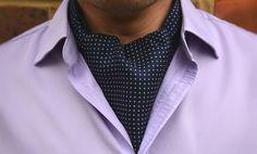 OAKLEY - Dark Navy with Small White Polka Dots Printed Silk Cravat #Cravats #Cravat #Ascot #Ascottie #Ascots #Ties #DayCravat #Polkadot #Polka #Dot