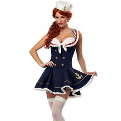 Nautical Doll Adult Womens Plus Size Costume - Halloween adventure is on the horizon when you set sail in this Nautical Doll adult womens plus size costume. Sailor Halloween Costumes, Halloween Dress, Cheap Halloween, Spirit Halloween, Halloween Party, Halloween Carnival, Halloween Doll, Adult Halloween, Funny Halloween