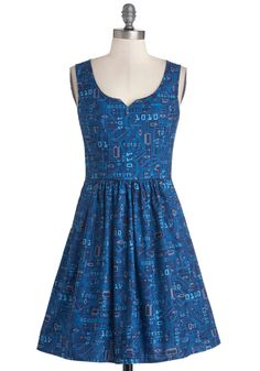 As Days Go Binary Dress. Serve up some sweet style each time you wear this printed blue dress, found exclusively at ModCloth! #blue #modcloth