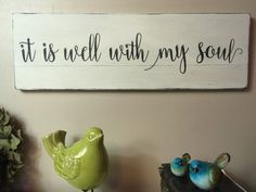 "It is well with my soul, hymn painted wood sign, Christian sign, rustic sign, farmhouse home decor, 24"" x 8"" by VintagebarnArt on Etsy https://www.etsy.com/ca/listing/476014315/it-is-well-with-my-soul-hymn-painted"