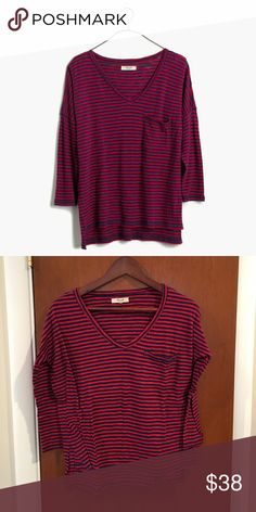 MADEWELL Melody Pocket Tee in Stripe Worn once - super cute with skinny jeans. Cotton. Machine wash. Madewell Tops Tees - Long Sleeve
