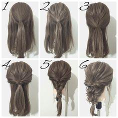 いいね!1,184件、コメント27件 ― ヘアアレンジ*YUYA*さん(@yuya.hair)のInstagramアカウント: 「☆簡単ヘアアレンジ☆ 今回はくるりんぱとロープ三つ編みで作るダウンスタイルです ①、トップを一本に結びます。 ②、①をほぐします。 ③、両サイドの髪をバックに持ってきて、①の上で一本に結びます。…」