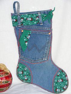 Santa print Denim Christmas Stocking by ChristmasDenimNDoDad, $20.00