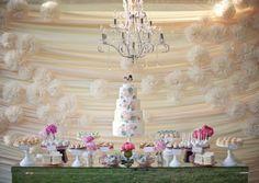 www.FabGabBlog.com   #dessert bar #pink #chandelier #white #wedding