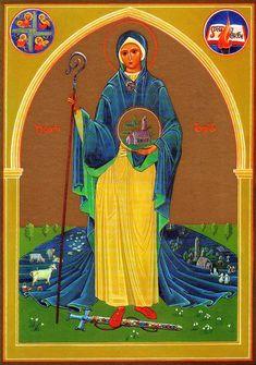 Icons of St. Brigid of Ireland, Abbess, Wonderworker, Foundress of ...