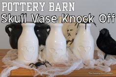 Pottery Barn Skull Vase Knock Off ~ * THE COUNTRY CHIC COTTAGE (DIY, Home Decor, Crafts, Farmhouse)
