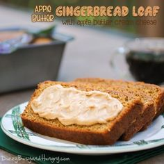 Apple Butter Gingerbread Loaf - The apple butter in this gingerbread loaf yields an aromatic, flavorful, and moist loaf cake. Serve with a sweet, creamy apple butter cream cheese spread! #applebutterspin