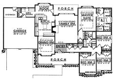 Home Plans HOMEPW21598 - 1,944 Square Feet, 4 Bedroom 2 Bathroom Country Home with 2 Garage Bays