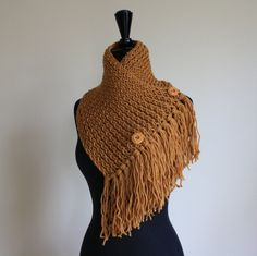 Bandana Scarf with Fringe in Honey by NicoleandMom on Etsy, $35.00 - meh on the color but love the style