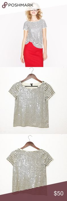 J. CREW SEQUIN STRIPE TEE PRODUCT DETAILS Meet our must-have mashup of the moment (and beyond): forever-chic sailor stripes rendered in hand-finished sequins for a luxe texture and just a touch of shimmer. A bateau neckline and a slim, slightly A-line silhouette cement the feminine feel.  Slim fit. Cotton. Hand wash. J. Crew Tops Tees - Short Sleeve