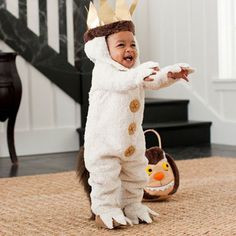 Max    If your guy likes to roar his terrible roars and gnash his terrible teeth and roll his terrible eyes, then we've found his perfect costume. Max jumps off the pages of Where the Wild Things with this adorable look.
