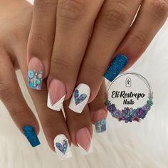 Blue Acrylic Nails, Blue Nails, Classy Nails, Trendy Nails, Needle Felted Animals, Short Nails, Beauty Nails, Nail Colors, Nail Designs