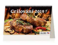 Stolní kalendář GRILOVÁNÍ 2019 Pork, Turkey, Meat, Kale Stir Fry, Turkey Country, Pigs, Pork Chops