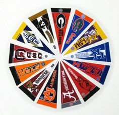A circle of pennants with favorite teams for little boys sport's room!