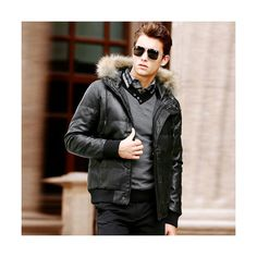 Justyle Fur Trim Leather Down Coat at Clothing.net ($95) via Polyvore