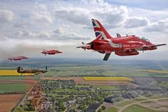 Hurricane LF363 of the Battle of Britain Memorial Flight is seen here in formation with the Red Arrows above Lincolnshire in May 2015. The sortie was a practice ahead of some very special activities by the RAF marking the 75th anniversary of the Battle of Britain this year.