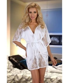 Beauty Night Fashion - Magnolia dressing gown white w Szlafroki Szlafrok Damski Beauty Night, Magnolia, Camisole, Cold Shoulder Dress, White Dress, Dressing, Satin, Rompers, Gowns