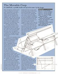 The Moveable Coop: A handy instruction sheet and material list for building a small moveable coop that's perfect for about a half dozen birds. Free PDF download from Organic Gardening