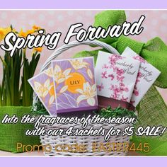 Blow in the sweet scent of lilac with our Southerly Wind sachet and our Lily sachet this spring season with our 4 for $5 sale!  This means 2 Southerly Wind and 2 Lily sachets for only $5! These are the perfect sachets to keep around the house this time of year to keep all the fresh scents of spring in your home!   Go to our website, add 2 Lily and 2 Southerly Wind sachets, and use the promo code Easter445!