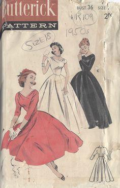 1950s Vintage Sewing Pattern B36 DRESS (R109)