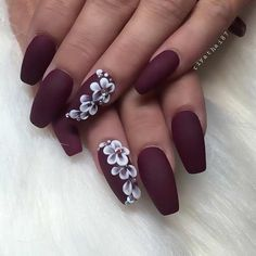 Matte Burgundy Coffin Nails with Flowers