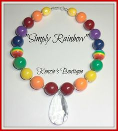 """""""Simply Rainbow"""" Chunky Beaded Necklace , Photo Prop, Children, Child"""
