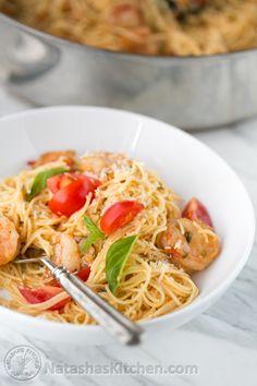 Shrimp Pasta Recipe, Shrimp Pasta in Creamy Tomato Sauce, Video Recipe pasta rezept healthy pasta recipes Creamy Shrimp Pasta, Shrimp Pasta Recipes, Shrimp Dishes, Fish Recipes, Seafood Recipes, New Recipes, Healthy Recipes, Popular Recipes, Pasta Recipes Video