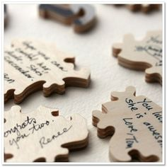 Each guest signs a puzzle piece � Afterwards, the