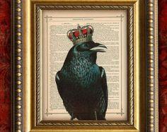 Vintage Dictionary Art Print RAVEN w/ CROWN 1 Art Print on Antique Book Page Art Print 8x10 Wall Decor