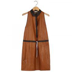 LEATHER + LINEN DRESS