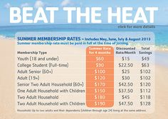 We are running a GREAT summer promo. Please stop in at the Welcome Desk to sign up!