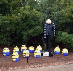 The minions from Despicable Me is a popular scarecrow subject at festivals since they're easy to make. Still, I bet the guy who did this took great advantage of early pumpkin sales and paint.