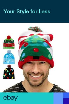 LED Christmas Tree Beanie Ugly Christmas Sweater Light Up Knitted Hat Led  Cap UK d700bb3161a5