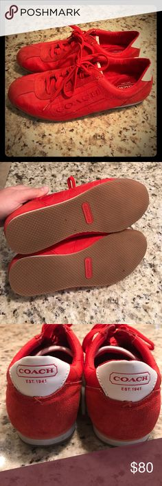 Coach sneakers Red coach sneakers, worn once. Very comfortable! Coach Shoes Athletic Shoes