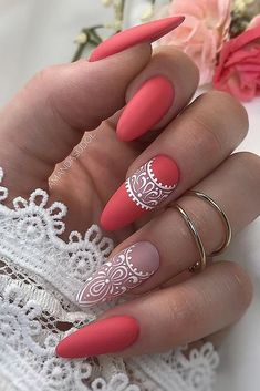 Pretty & Easy Gel Nail Designs to Copy in Trendy Gel Nails Designs Inspirations; The post Gel Nails Designs Inspirations appeared first on Trendy. Cute Acrylic Nails, Gel Nail Art, Fun Nails, Coral Gel Nails, Glow Nails, Almond Gel Nails, Almond Shape Nails, Nails Shape, Lace Nails