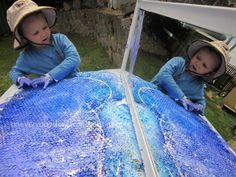 reggio emilia activities large painting an everyday story Going Large: Bubble wrap painting