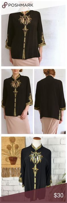 """Bob Mackie Silk Embroidered Tunic Blouse. Vintage Bob Mackie Silk Embroidered Tunic Style Blouse. Style A85980 Size Medium. Does have one tiny flaw..small amount of stitching came out near Button #4. 05771 Measurements flat Bust 21"""" Length 26.5"""" Bundle in my closet and save. I ship same day or next day almost always! No trades. Bob Mackie Tops Blouses"""